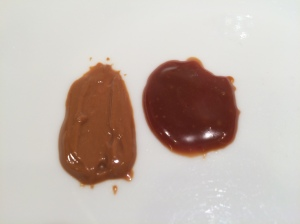 The ganache is on the right. There is a difference in both color and texture